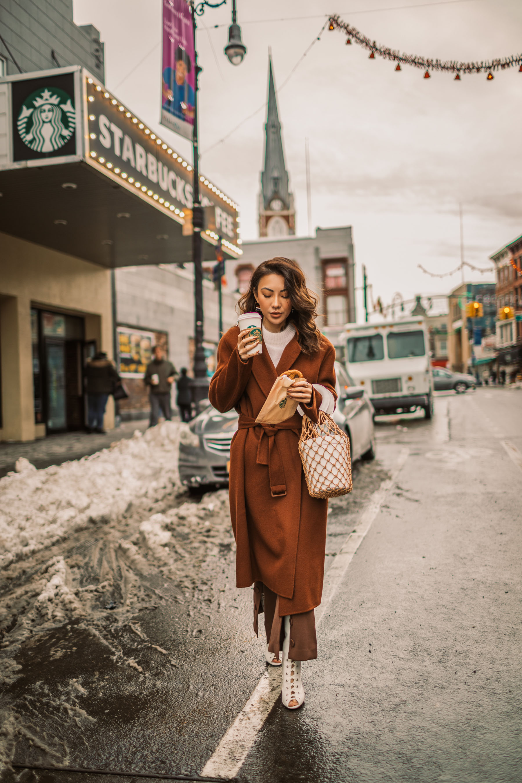 Up and Coming Handbag Brands to Know in 2018 // Notjessfashion.com // staud macrame bag, brown button trousers, wrap coat, robe coat, chic winter outfit, new york fashion blogger