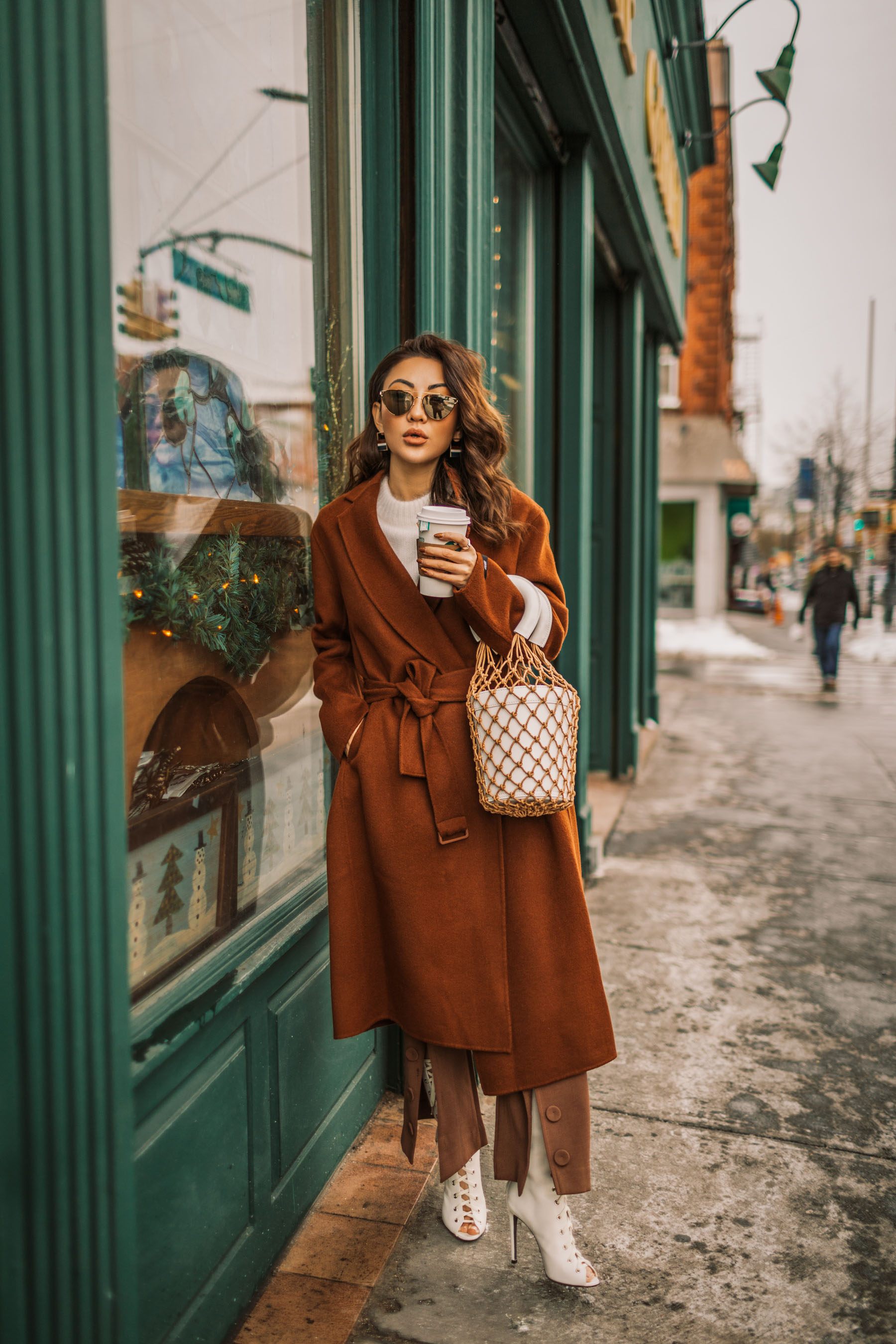 Up and Coming Handbag Brands to Know in 2018 // Notjessfashion.com // staud macrame bag, brown button trousers, wrap coat, robe coat, chic winter outfit, new york fashion blogger, aviator sunglasses