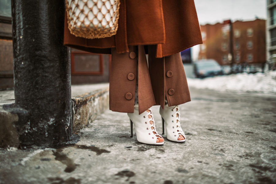 Up and Coming Handbag Brands to Know in 2018 // Notjessfashion.com // staud macrame bag, brown button trousers, wrap coat, robe coat, chic winter outfit, new york fashion blogger,