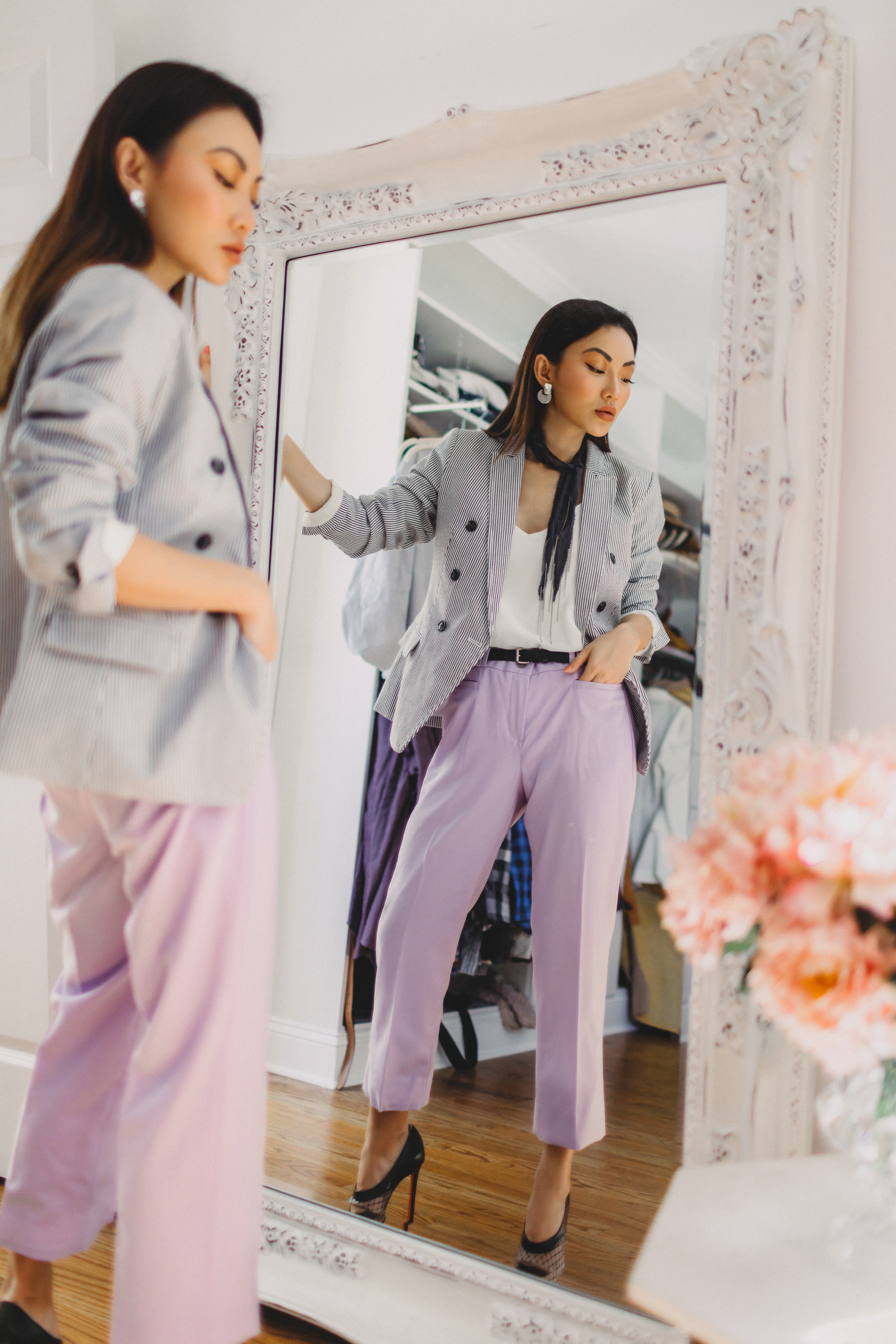 lavender pants, stripe blazer // Notjessfashion.com