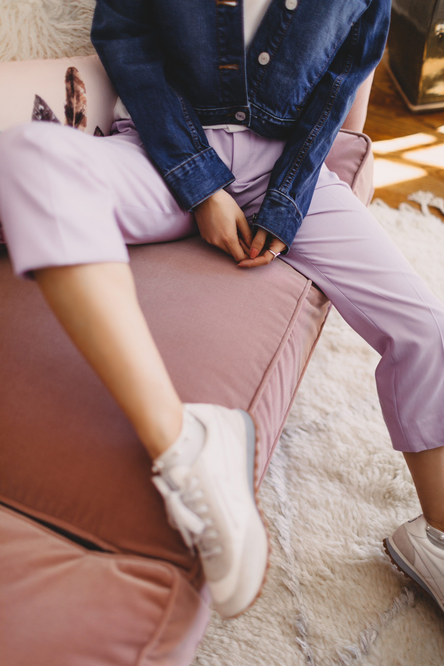 lavender trousers with sneakers // Notjessfashion.com