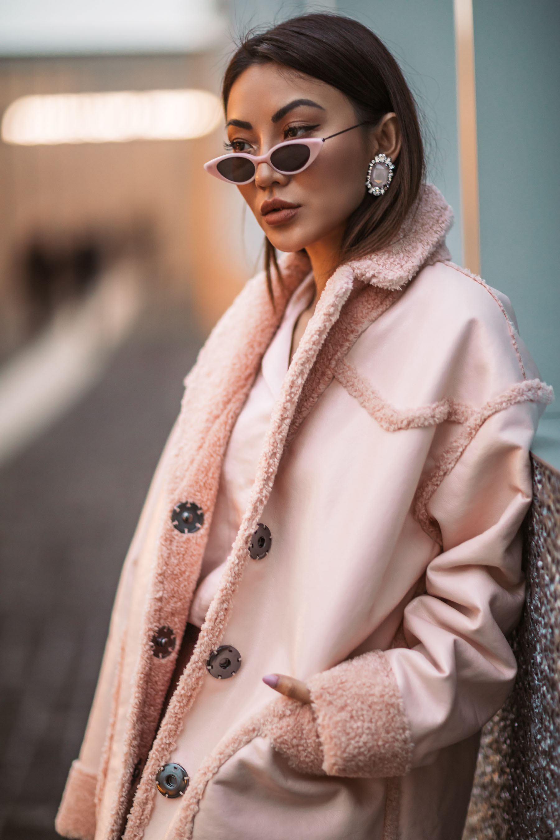 Milan Fashion Week - Pink Shearling Jacket, monochromatic pink outfit, mfw street style // Notjessfashion.com