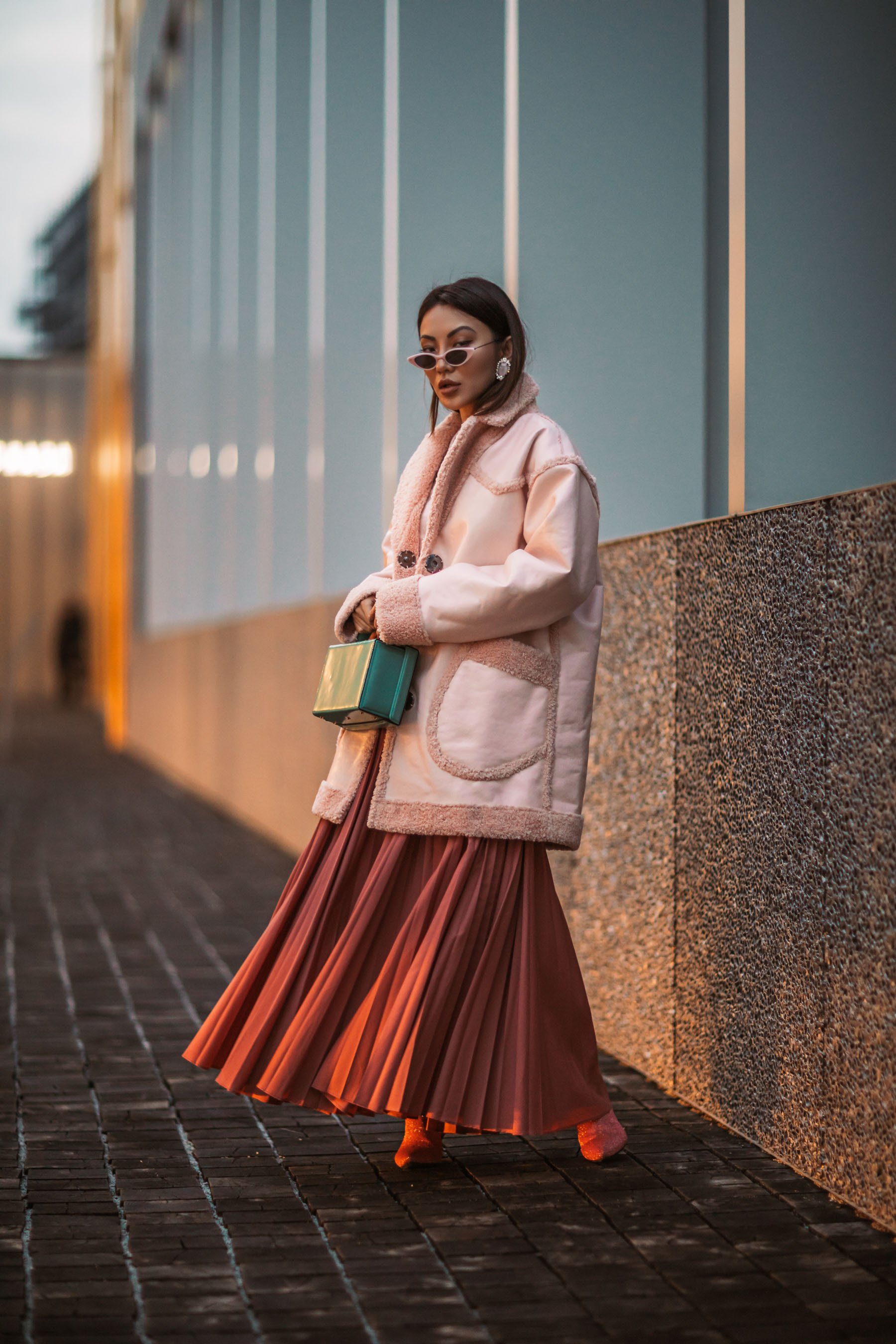 Milan Fashion Week - Pink Shearling Jacket, pleated skirt, mfw street style // Notjessfashion.com