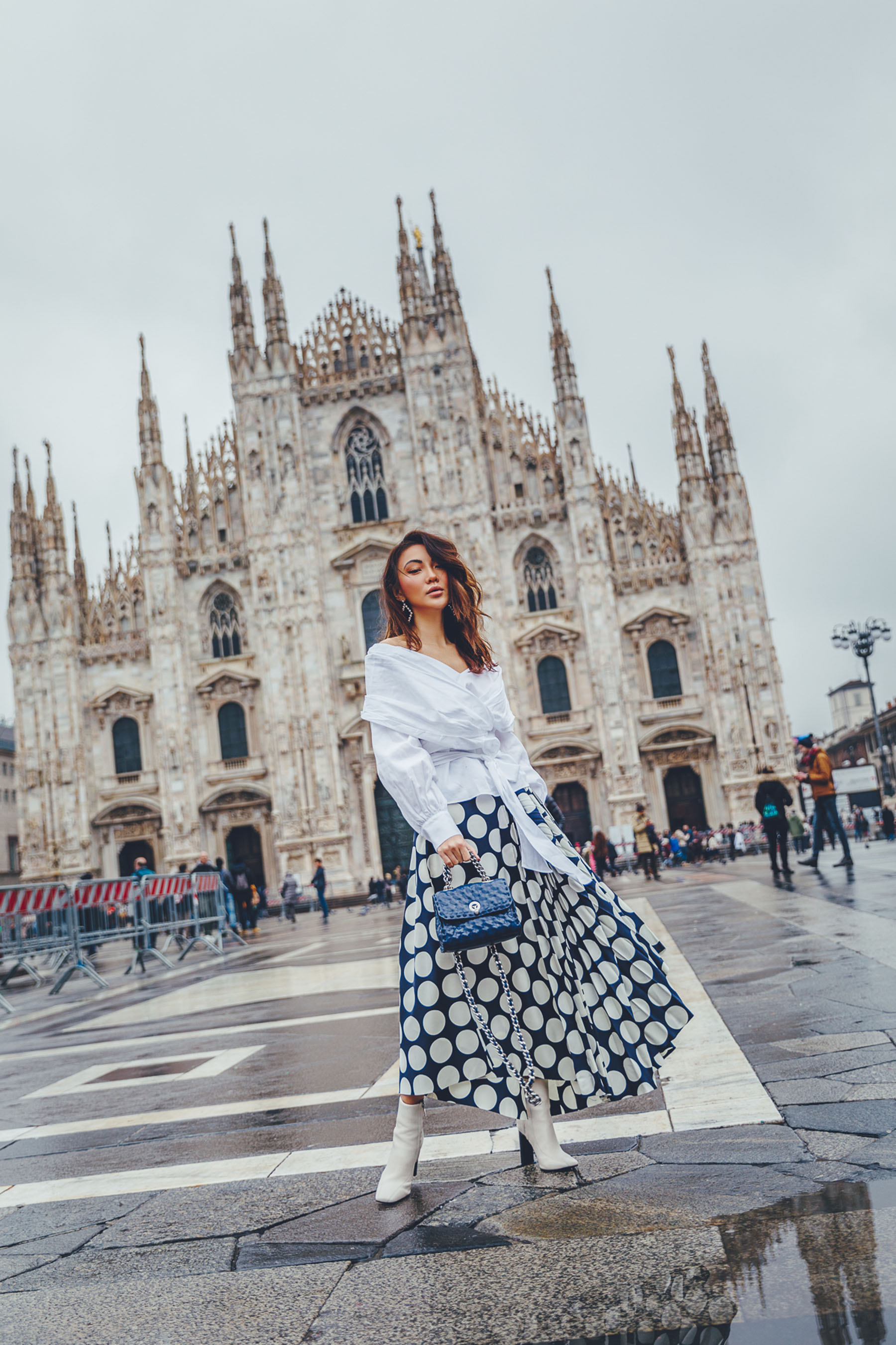2018 Fashion Trends - Polka Dot Skirt, White Boots, Wrap Top // Notjessfashion.com