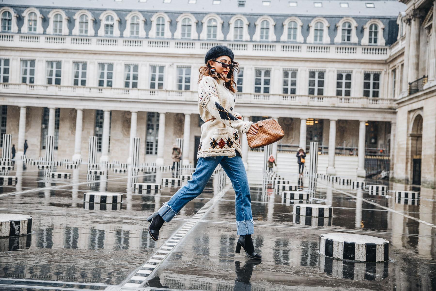2018 Fashion Trends - isabel marant cardigan, intarsia knitwear, pfw street style // Notjessfashion.com