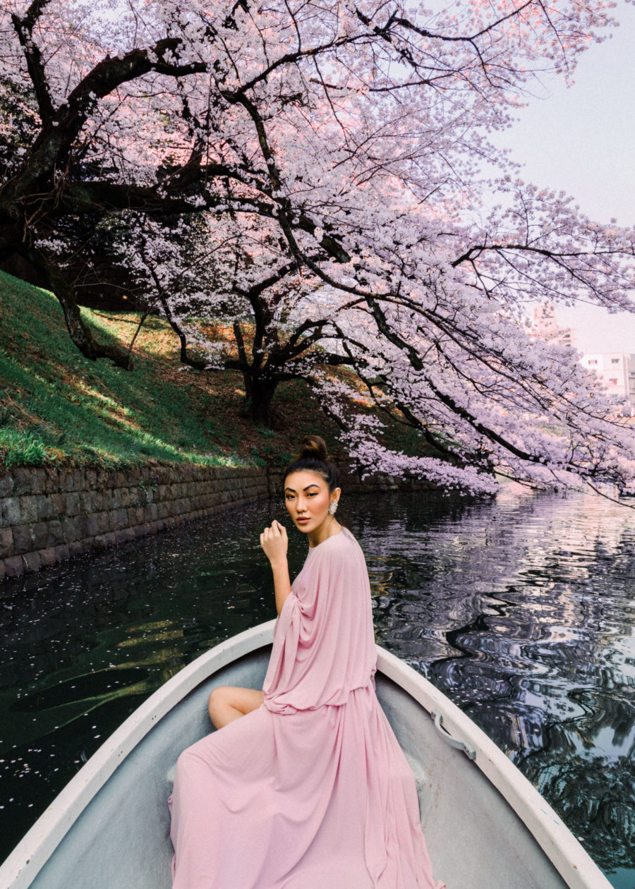 Pink Chiffon Dress, Spring Outfits Ideas, Tokyo Travels, Cherry Blossoms in Japan // NotJessFashion.com