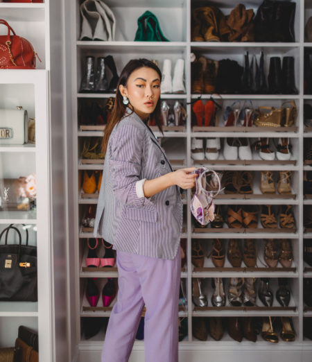 4 Purple Outfits That Prove The Color is Here to Stay - Banana republic lilac trousers // Notjessfashion.com