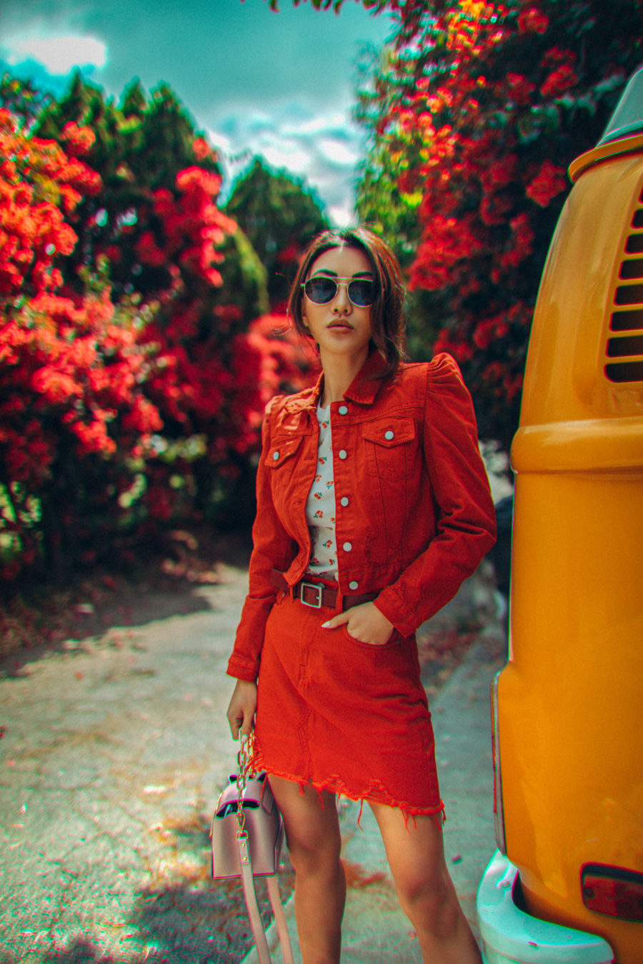 5 Best Colors to Wear This Summer & Stand Out - red denim outfit // Notjessfashion.com