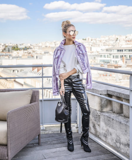 4 Purple Outfits That Prove The Color is Here to Stay - Purple jacket with patent leather pants // Notjessfashion.com