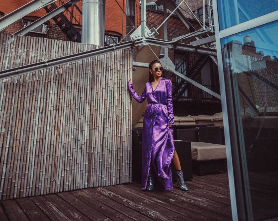4 Purple Outfits That Prove The Color is Here to Stay - Purple silk kimono, silver sequin boots, nyfw street style // Notjessfashion.com
