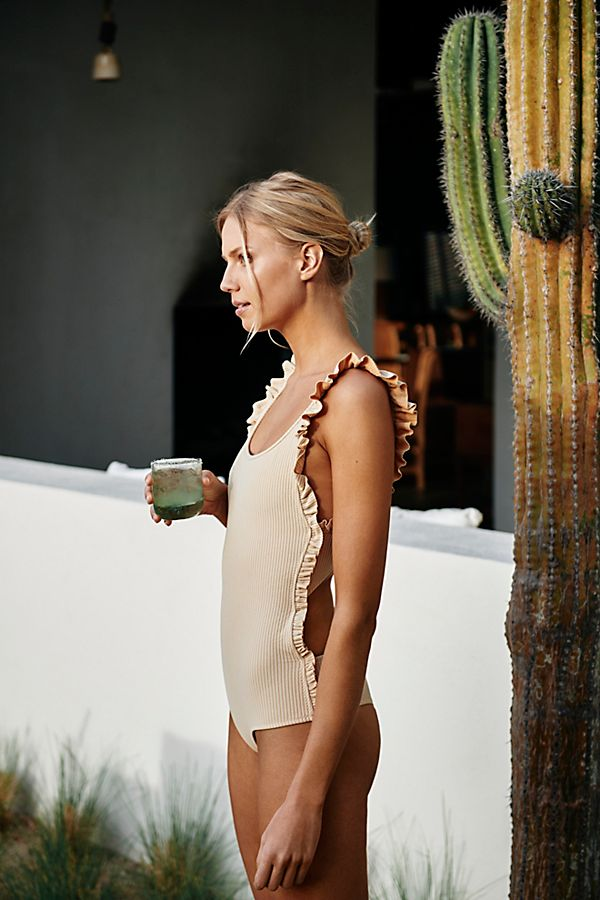 Stylish Swimsuit Trends 2018 - ruffle shoulder swimsuit trend // Notjessfashion.com