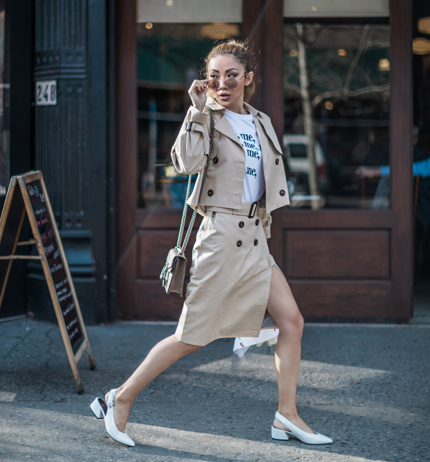 Spring Transitional Jackets - Cropped Trench Coat with Skirt and White Pumps // NotJessFashion.com