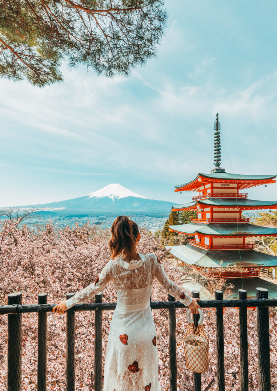 7 Best Spots for Cherry Blossoms in Japan - Chureito Pagoda, luxury travel blogger // Notjessfashion.com