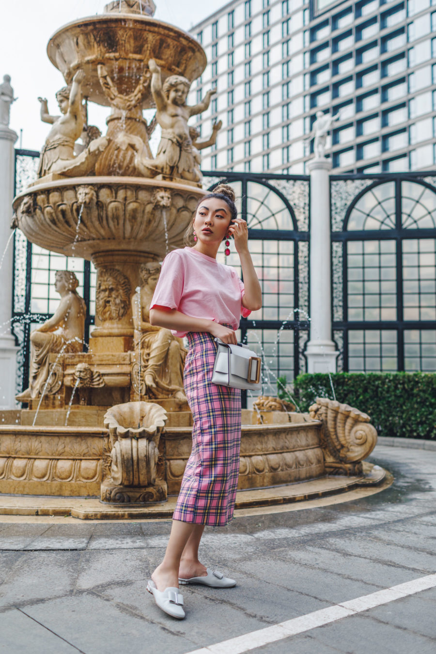 spring 2019 capsule wardrobe - Chic travel outfits, pink plaid skirt, pink monochrome outfit, summer travel outfits // Notjessfashion.com