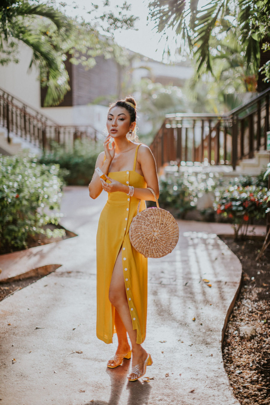 How to Get Smoother and Brighter Skin - Clinique Fresh Press, Clinique Vitamin C Serum, Fairmont Mayakoba, yellow dress, straw circle bag // Notjessfashion.com