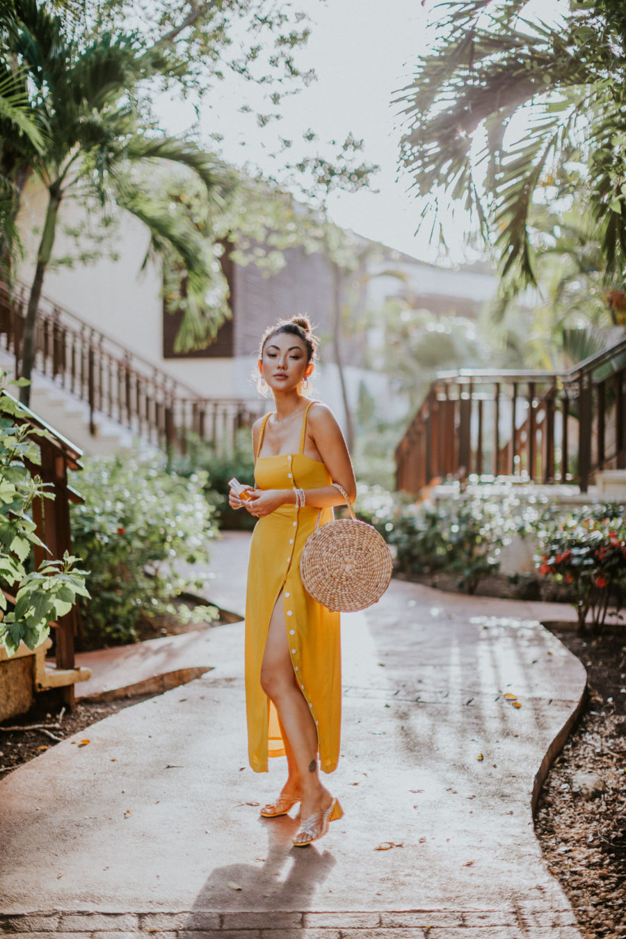 How to Get Smoother and Brighter Skin - Clinique Fresh Press, Yellow Button Down Dress, Fairmont Mayakoba // Notjessfashion.com