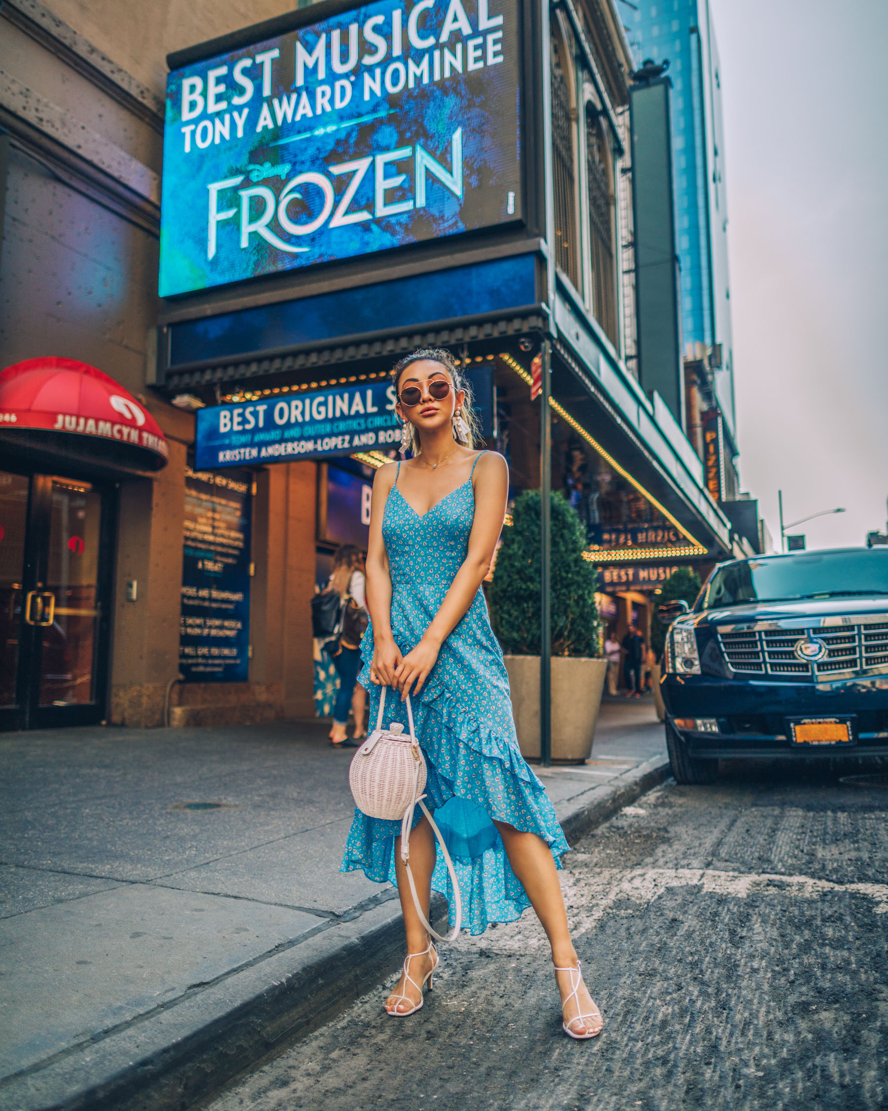 day-to-night outfit ideas, loveshackfancy dress, Frozen Broadway, Blue Ruffle Dress // Notjessfashion.com