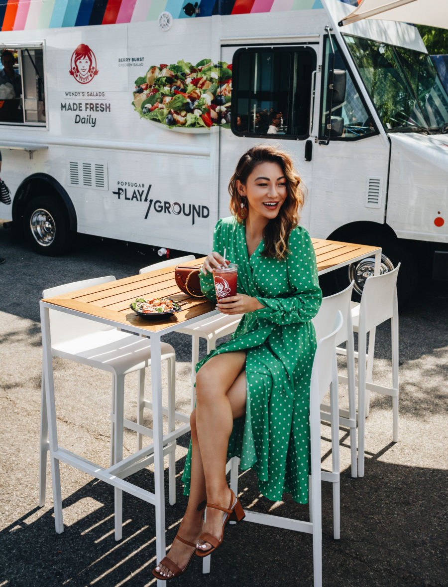 What to Wear to Your Next Blogger Event - popsugar wendy's pop up, green polka dot dress // Notjessfashion.com