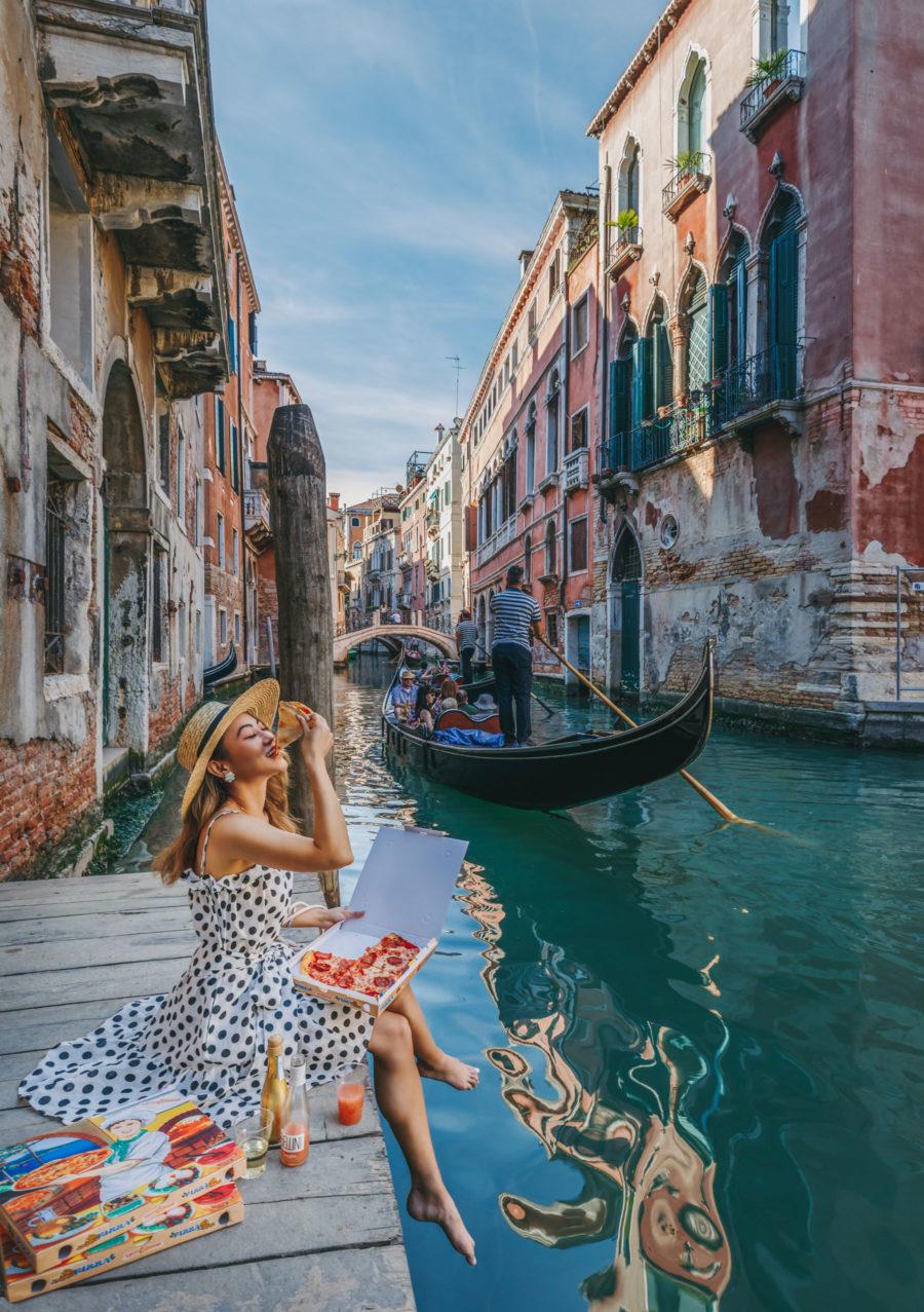 Instagram Outfits in Venice - polka dot dress, venice canals, venice bridge, travel blogger, black and white dress, summer sundress // Notjessfashion.com