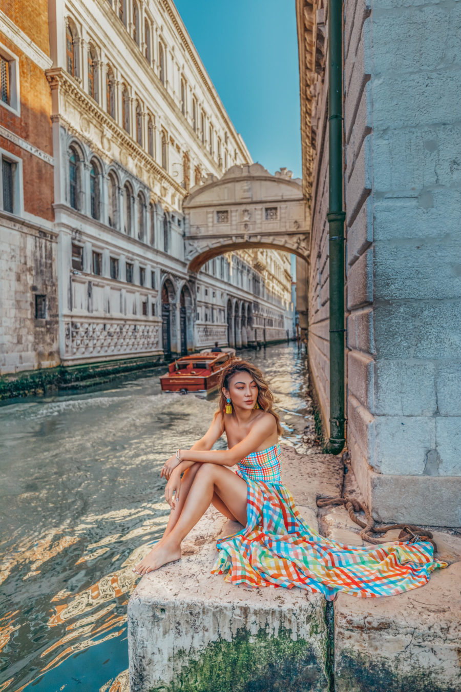 Top 5 Travel Destinations in the Summer - Venice, colorful plaid dress, smocked top dress, travel blogger, venice canals, streets of venice, water taxi in venice // Notjessfashion.com