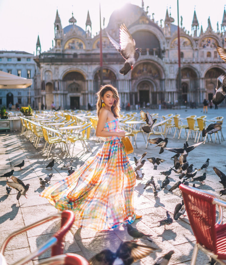 Instagram Outfits in Venice - colorful plaid dress, smocked top dress, san marco square venice italy, travel blogger // Notjessfashion.com
