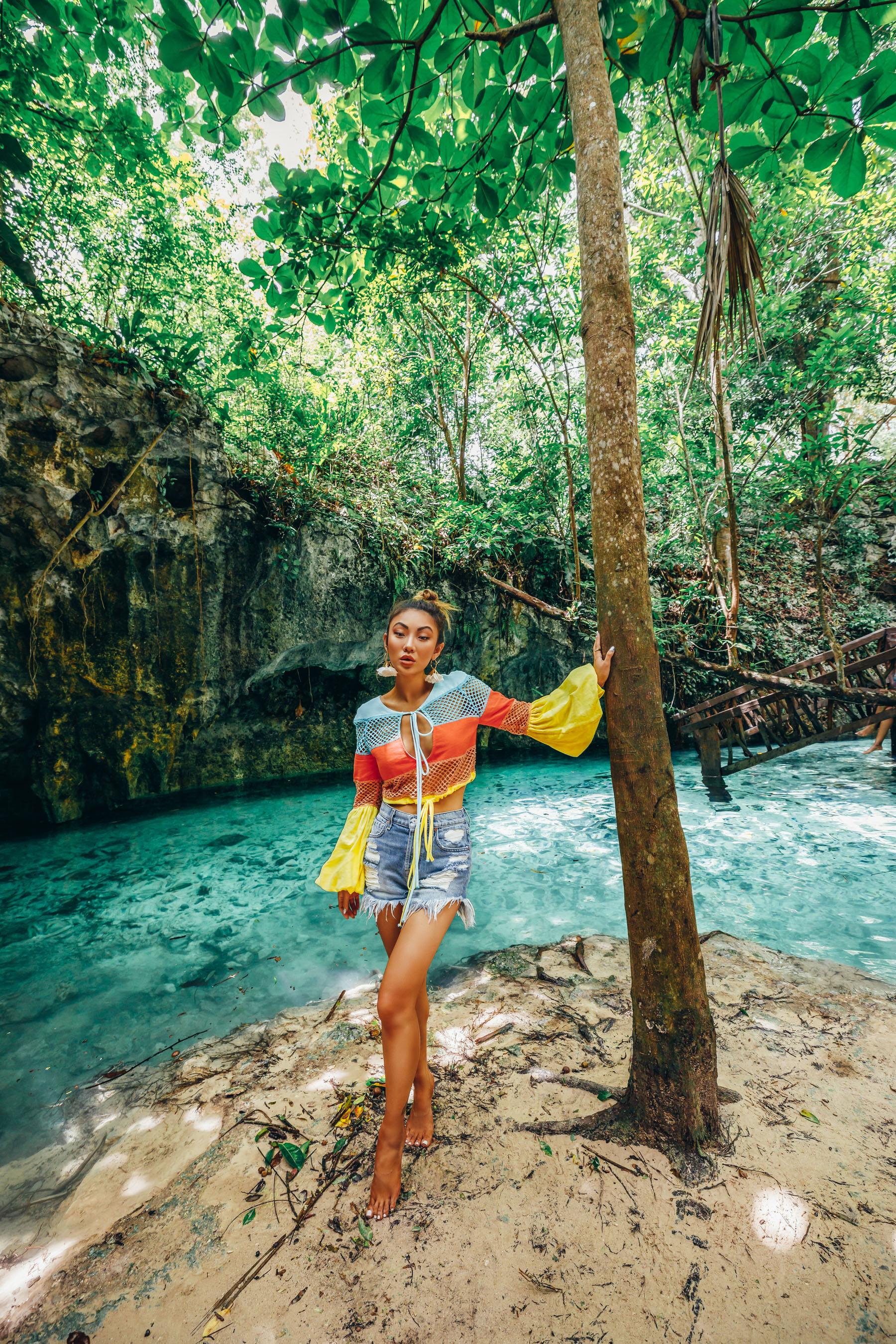 memorial weekend sales, bright crochet top, cenote mexico, vacation style // Notjessfashion.com