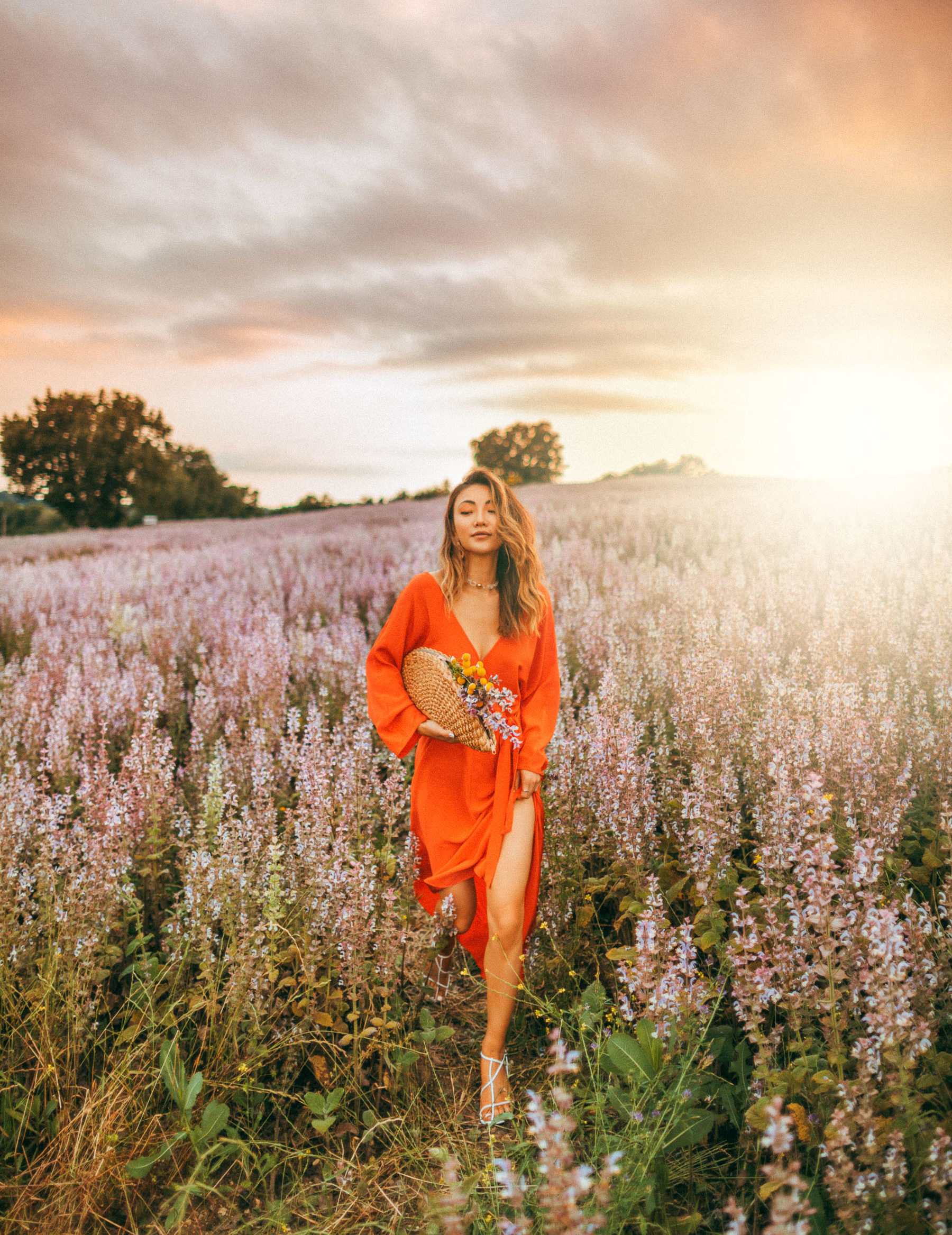 self-care regimen, Lavender fields Provence, DVF orange dress // Notjessfashion.com