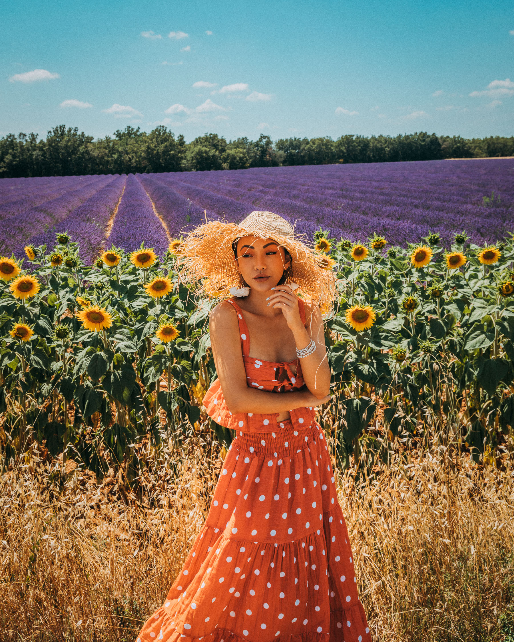 sunflowers and lavenders in provence, polka dot dress, frayed straw hat // Notjessfashion.com
