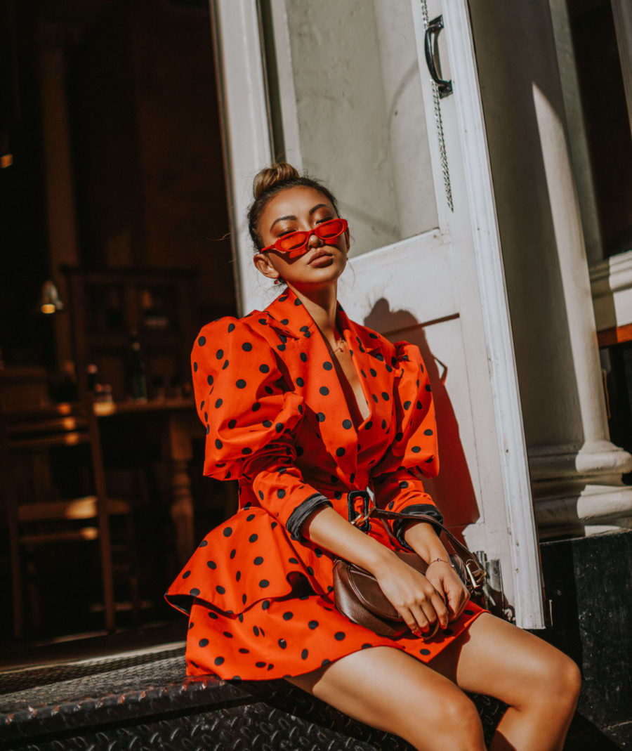 How to Manage a Full Day of Meetings in NYC - Uber's New Tools for Tricky Pickups, Red Polka Dot Dress // Notjessfashion.com