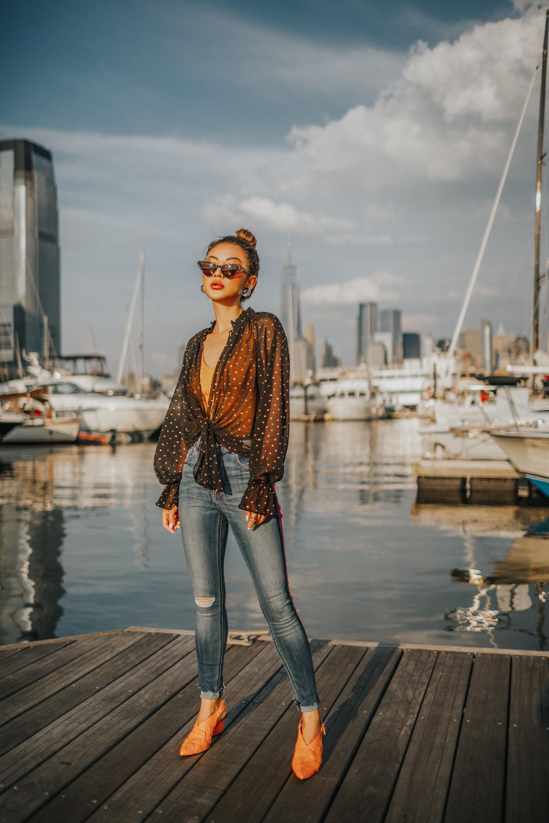 nordstrom anniversary sale 2019 favorites, denim trends, Express Side Stripe Jeans, Express sheer blouse // Notjessfashion.com