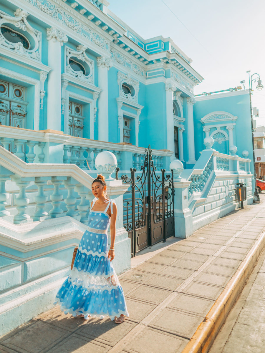 Safety Tips When Traveling to Mexico - Blue Lace Dress, Merida Mexico // Notjessfashion.com