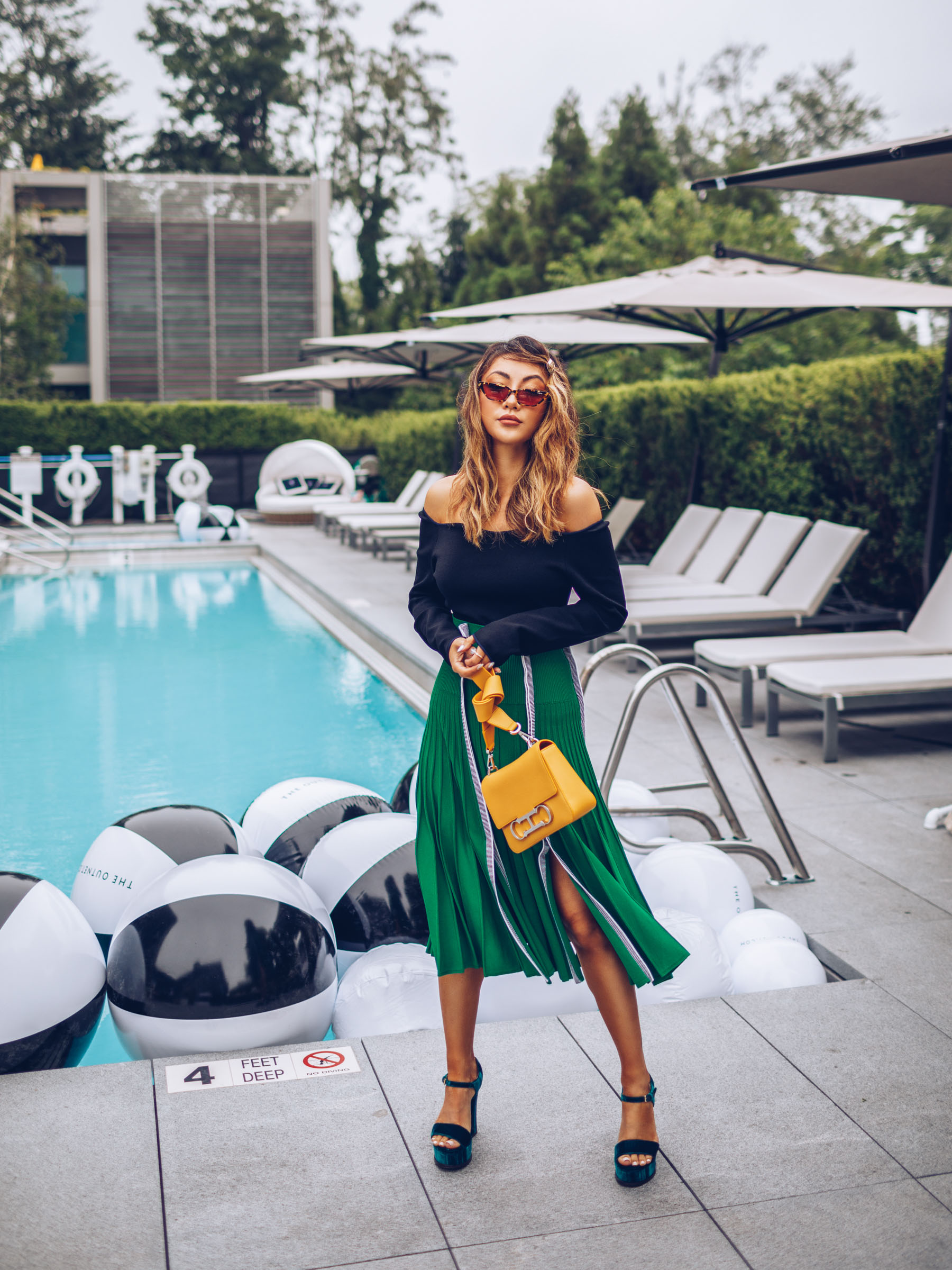 nordstrom anniversary sale 2019 favorites, Green Pleated Skirt, Carolina Herrera Yellow Bag, Green Velvet Heels // Notjessfashion.com