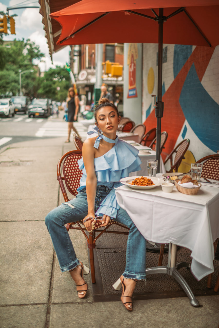 How Bloggers Make Money - Italian Food in NYC, blue ruffle top, the outnet fashion // Notjessfashion.com