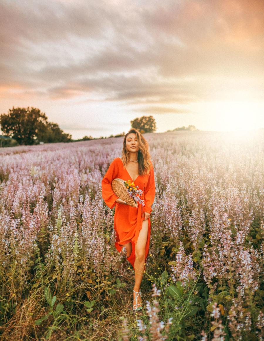 Lavender fields Provence, DVF orange dress // Notjessfashion.com