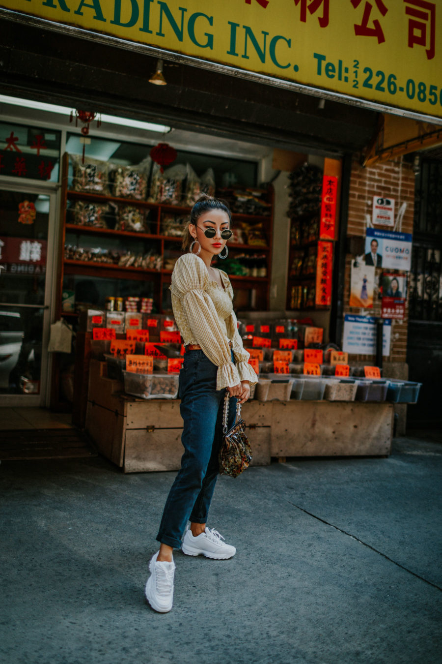 best things to do for chinese new year in nyc, chinatown nyc, BDG Mom Jeans, smocked top, western belt, hexagonal sunglasses, NYC fashion blogger // Notjessfashion.com