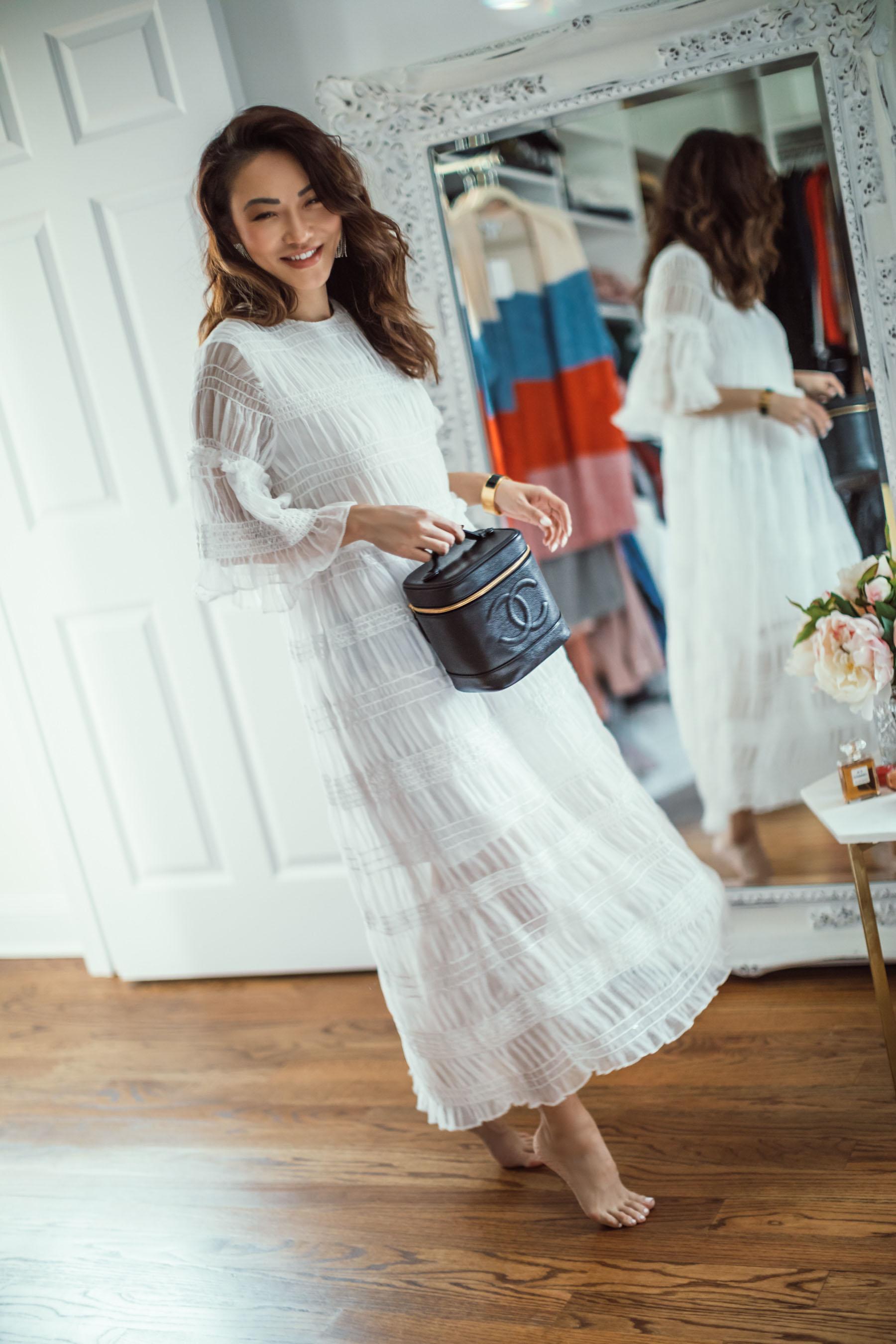 How to Organize Your Closet, Chanel Vanity Bag, White Maxi Dress // Notjessfashion.com