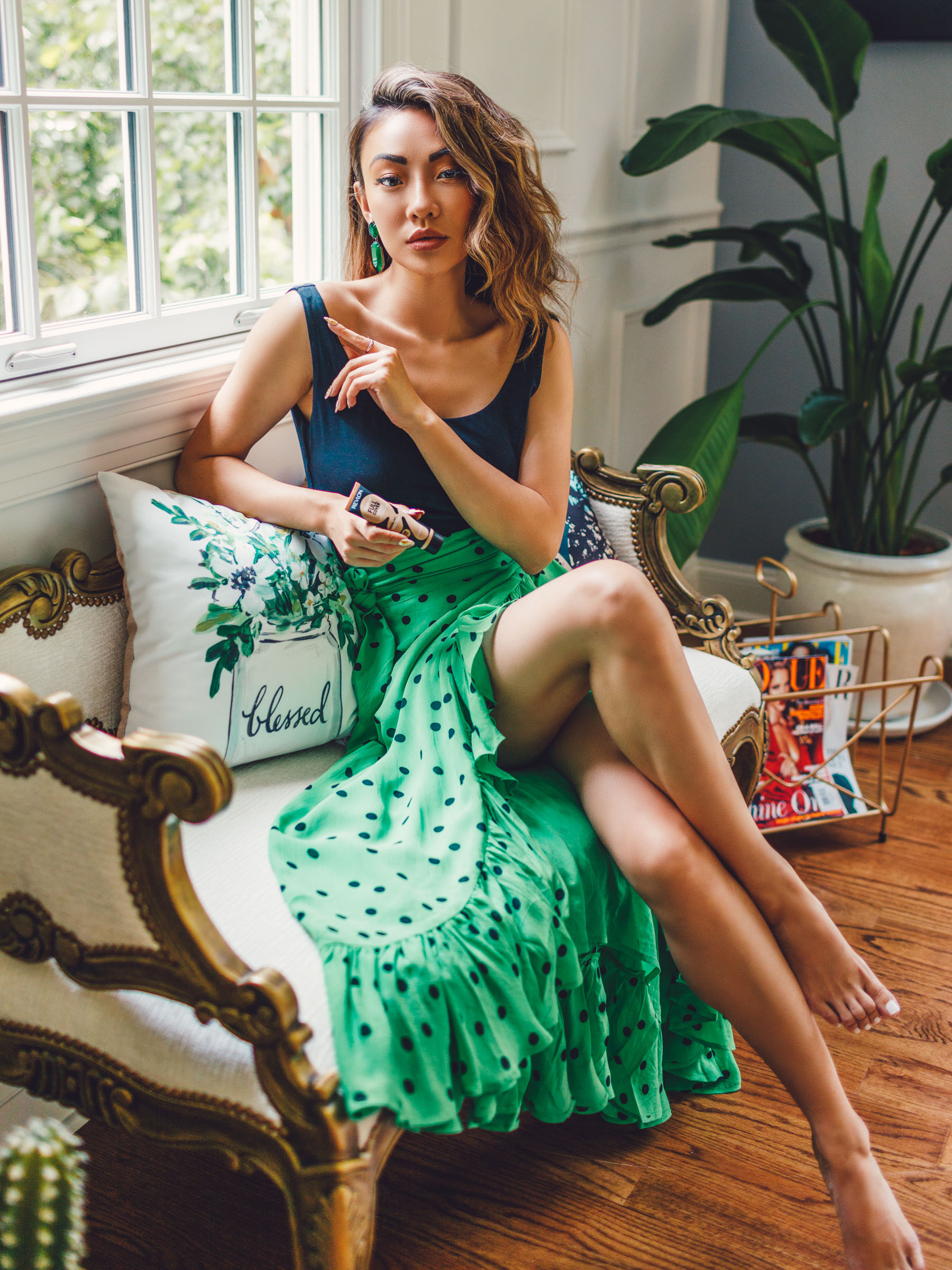 life hack products from amazon, green polka dot skirt, ruffle skirt // Notjessfashion.com