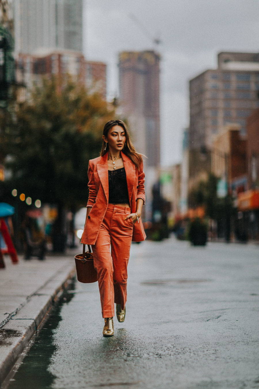 How to Wear the Corduroy Trend - & other stories corduroy suit, gold boots, meli melo bag // Notjessfashion.com