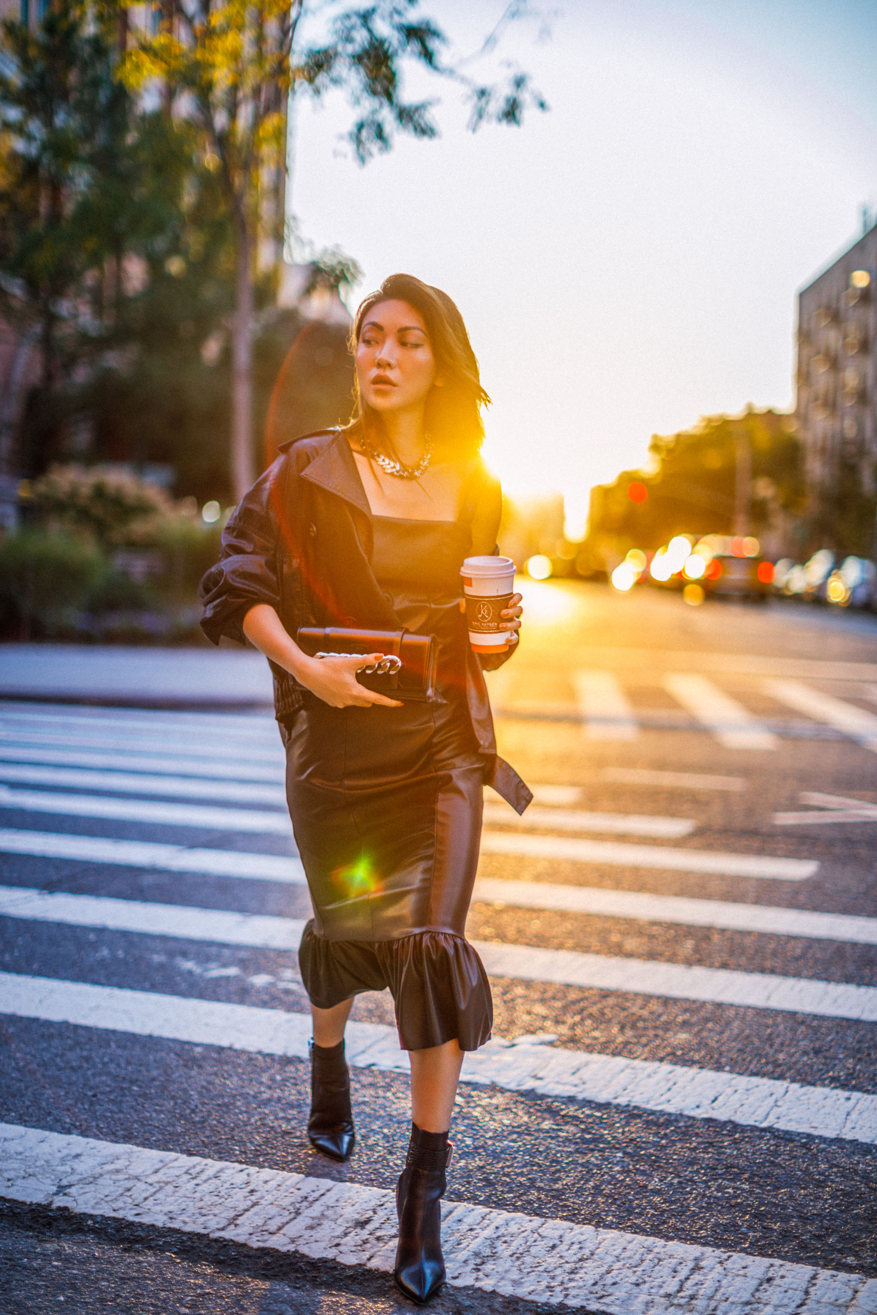 leather outfit, brown leather jacket, leather dress, fall 2018 outfit inspiration // Notjessfashion.com