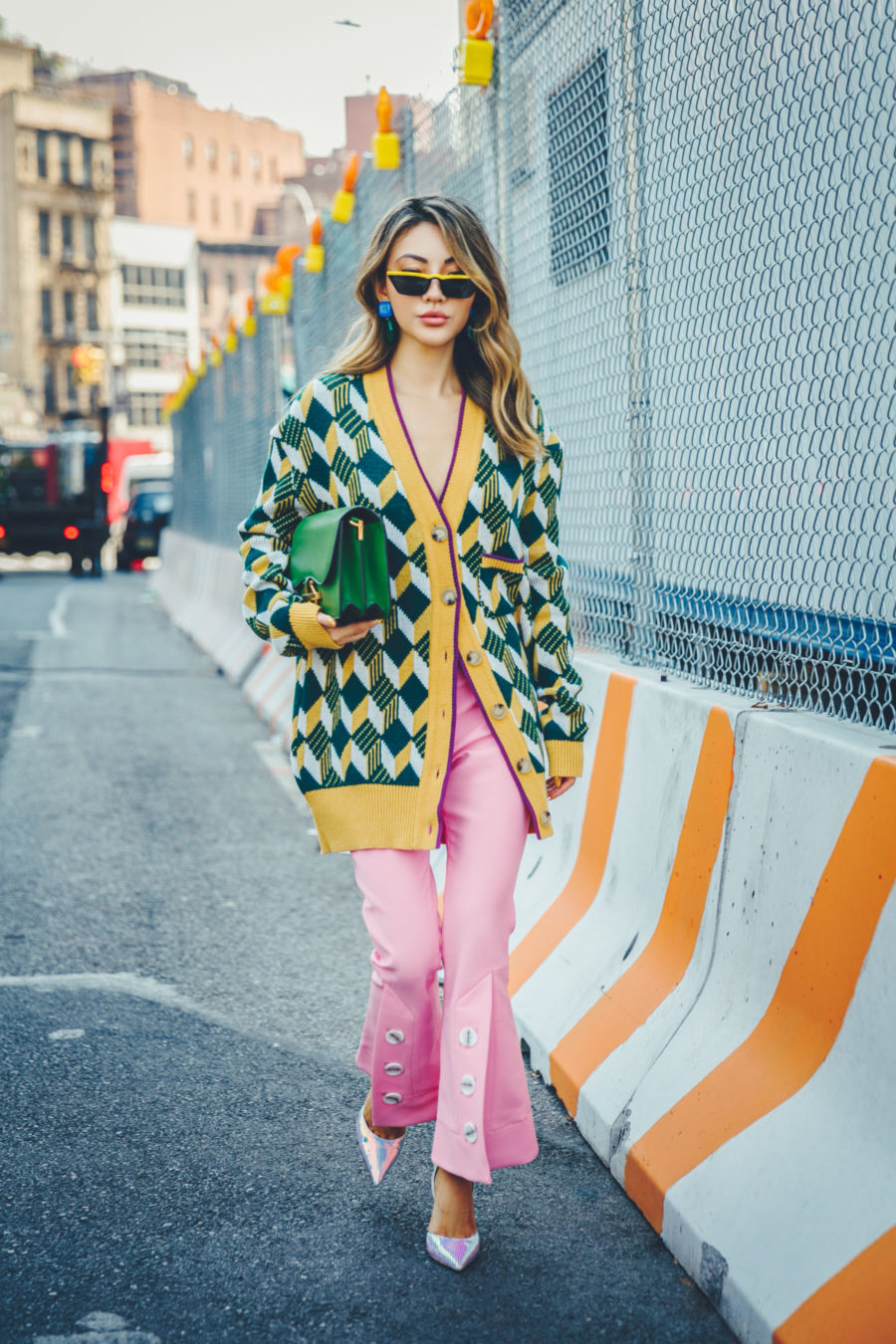 NYFW SS19 Recap, NYFW SS19 Street Style, oversized cardigan trend, argyle cardigan // Notjessfashion.com