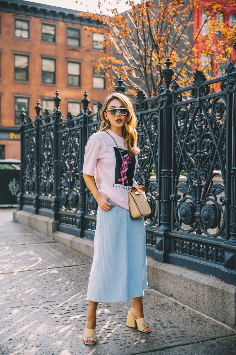 Fashion Mistakes Women Make - Pastel Trend, NYFW Street Style, pale blue culottes // Notjessfashion.com