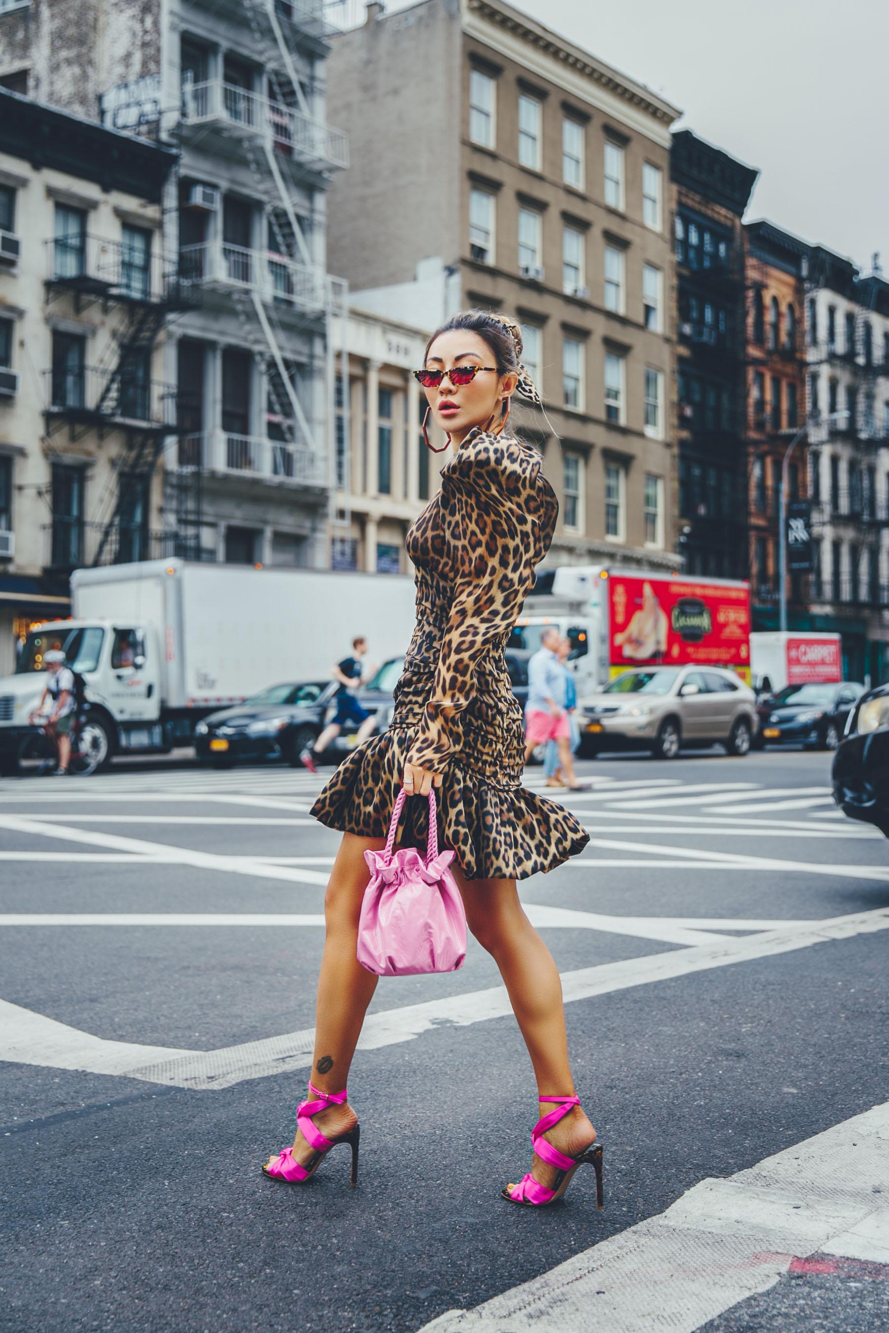 wedding guest outfit ideas, NYFW SS19 Recap, NYFW SS19 Street Style, leopard print trend, magenta heels // Notjessfashion.com