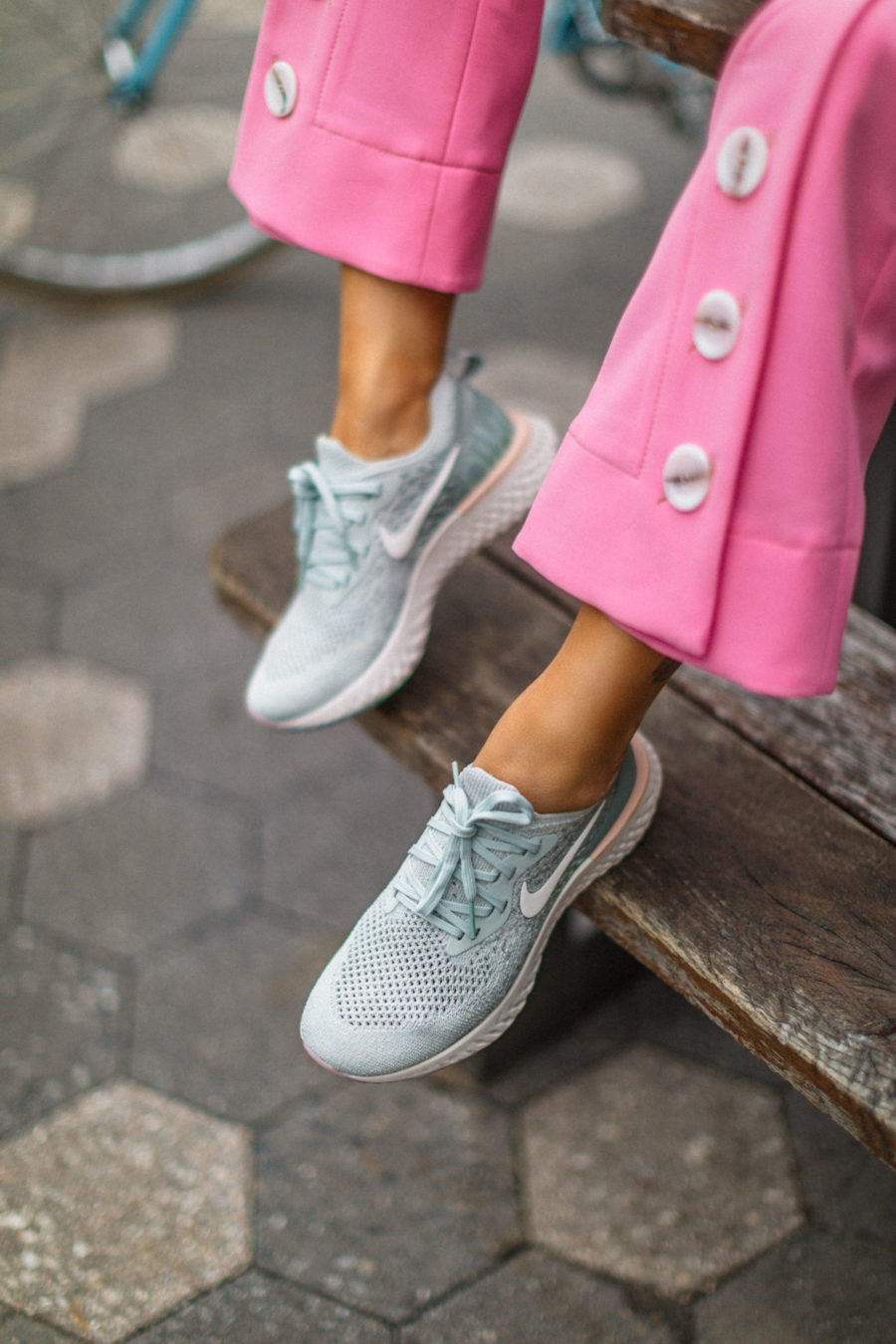 spring 2019 capsule wardrobe - Pink Trousers with sneakers, Nike Epic React Sneakers, fashion sneakers // Notjessfashion.com