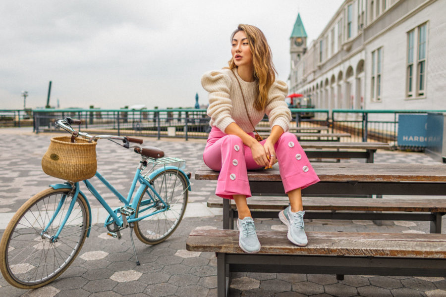 How to Wear Sneakers from Day to Night - Pink Trousers with sneakers, Nike Epic React Sneakers, fashion sneakers // Notjessfashion.com