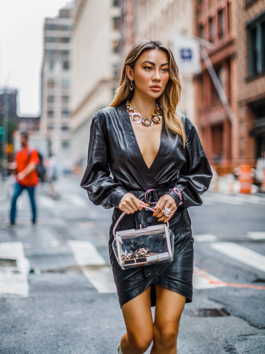 NYFW SS19 Recap, NYFW SS19 Street Style, statement jewelry trend, clear bag trend // Notjessfashion.com