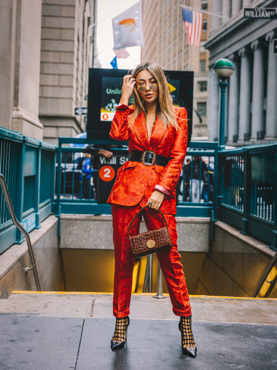 NYFW SS19 Recap, NYFW SS19 Street Style, Red Suit, Jimmy Choo Caged booties // Notjessfashion.com