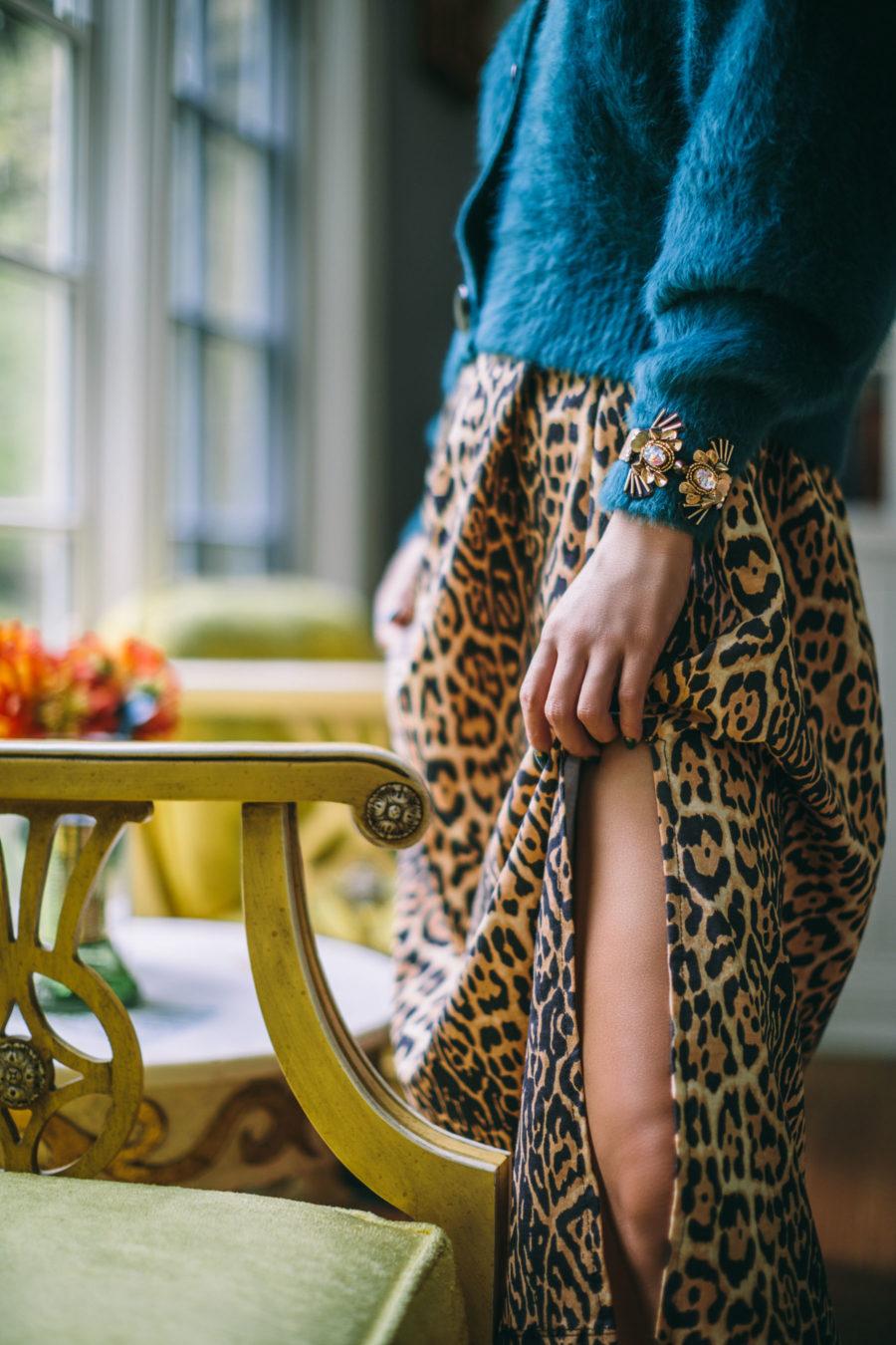 Trends I am ditching in 2020: leopard print dress, blue faux fur cardigan, Mignonne Gavigan jewelry // Notjessfashion.com
