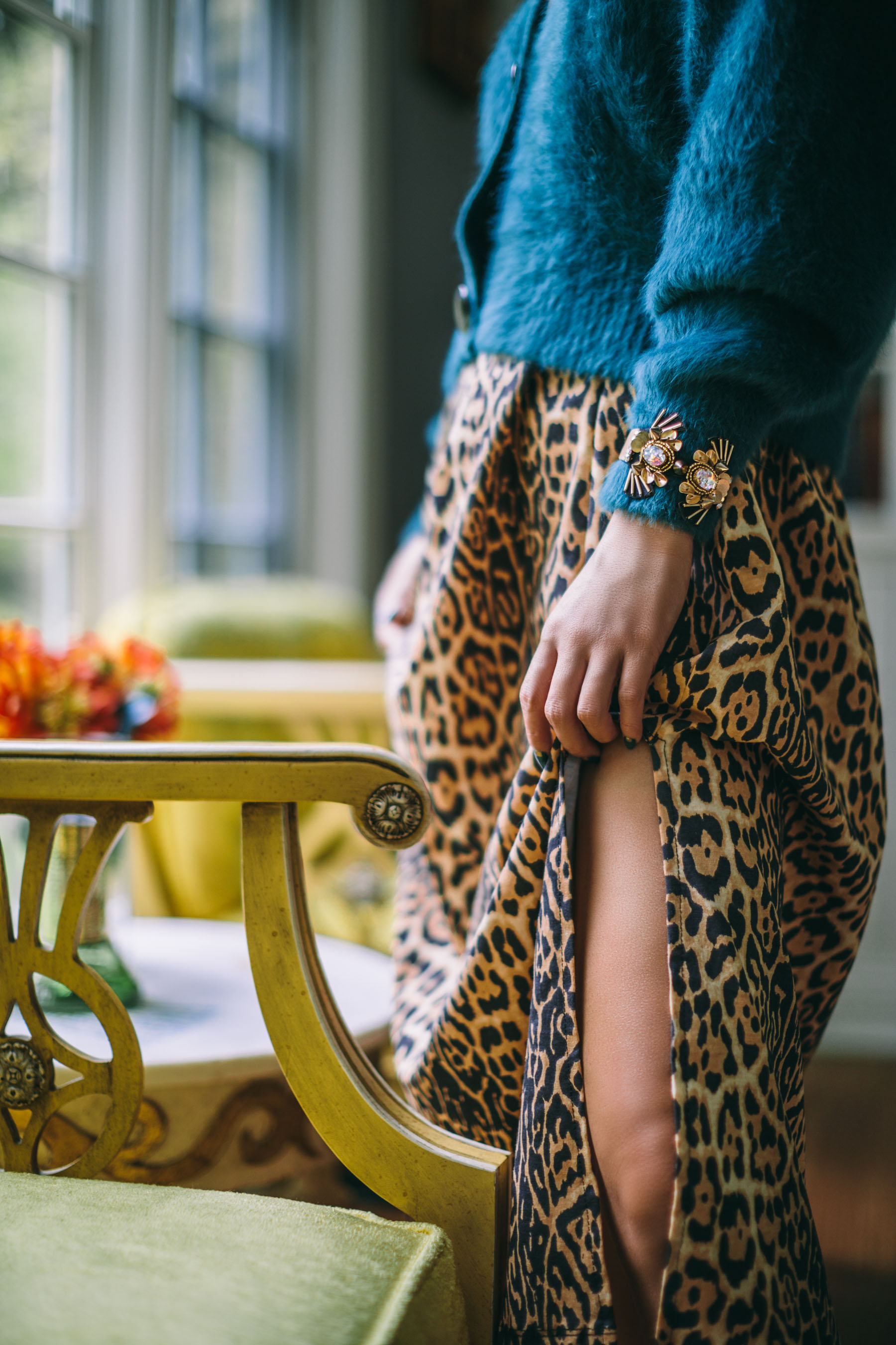 animal print, leopard slip dress, leopard dress and colored cardigan, Mignonne Gavigan jewelry // Notjessfashion.com
