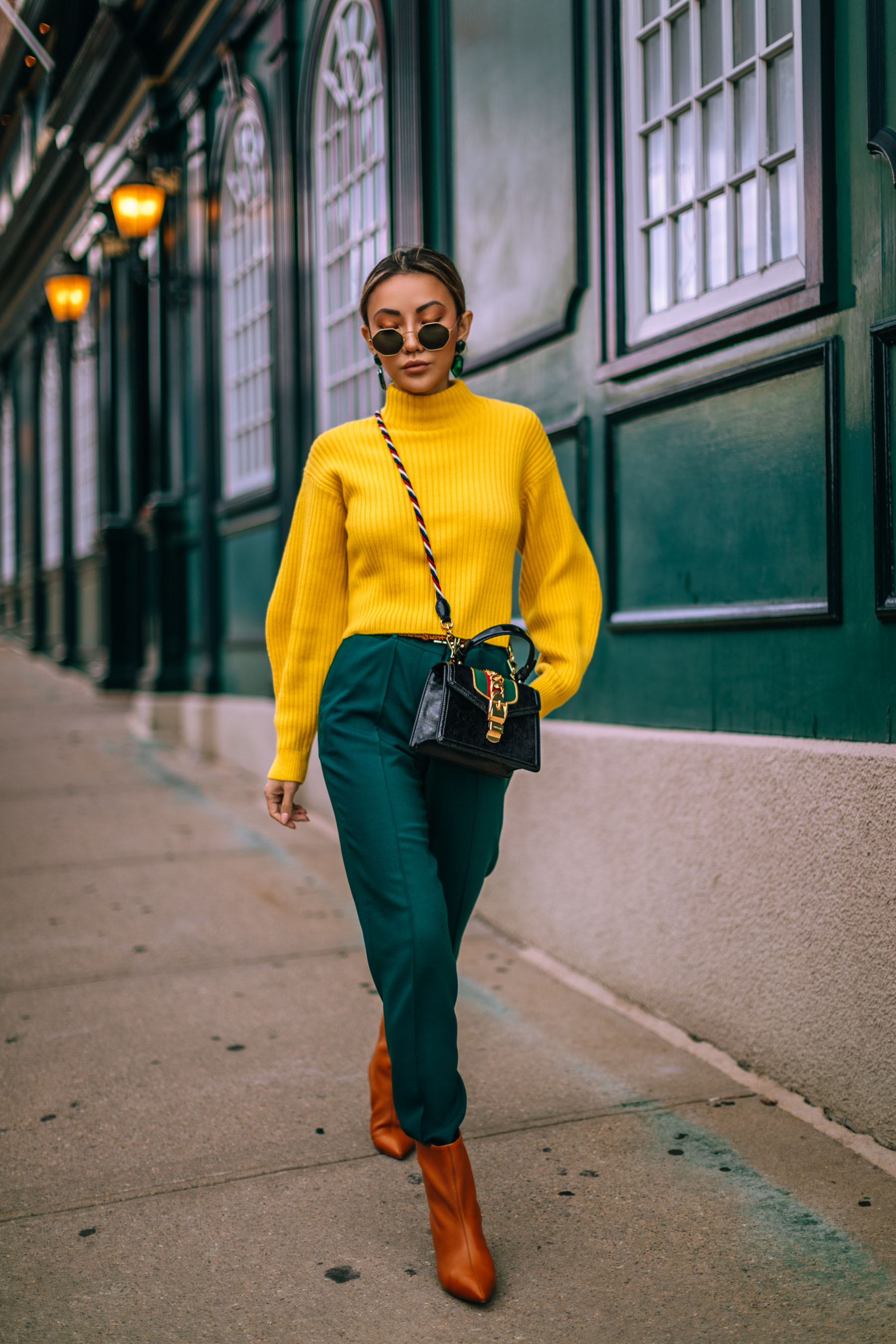 Must have sweaters for fall and winter 2019 - yellow bell sleeve turtleneck sweater, sweaters, Green and Yellow outfit, Gucci Bag // Notjessfashion.com
