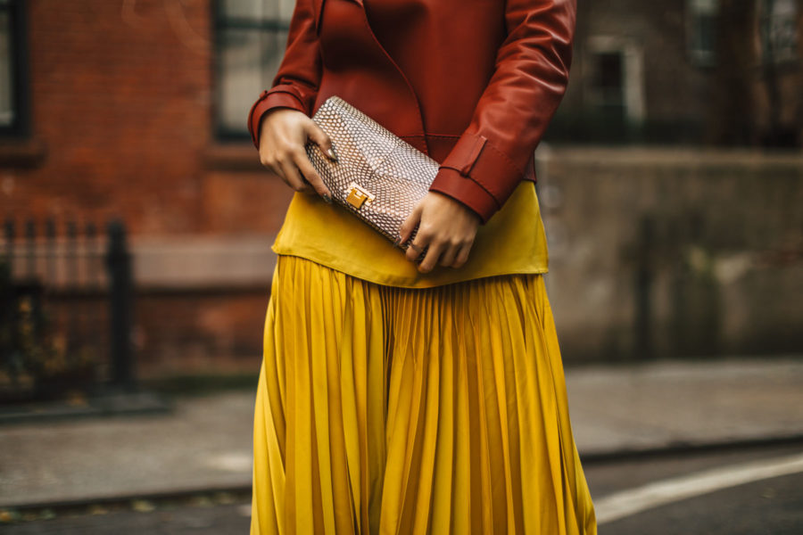 Holiday Party Outfit Ideas - reiss pleated skirt, reiss leather jacket, pleated skirt outfit // Notjessfashion.com